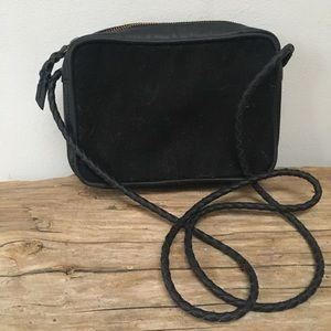 Black vegan leather and canvas crossbody bag by UO